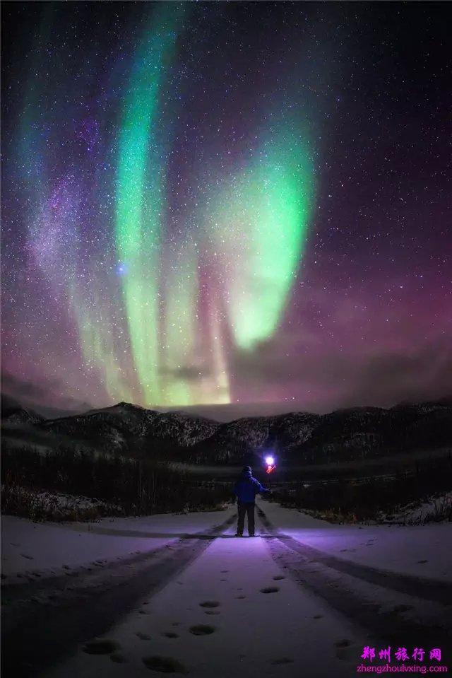 手机拍摄冰岛极光